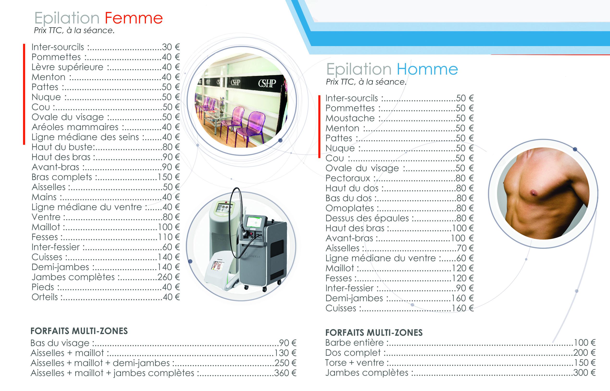 tarifs epilation-laser